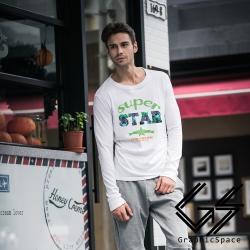 超級星星字母磨毛水洗長袖T恤 (共三色)-GraphicSpace