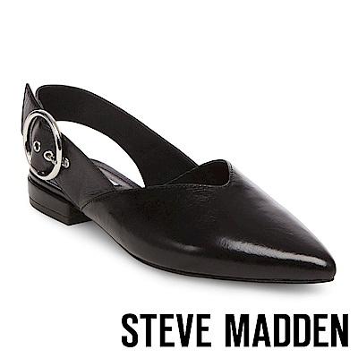 STEVE MADDEN-COURTNEY 尖頭低跟大圓扣涼鞋-黑色