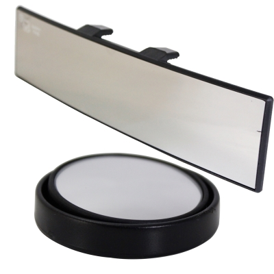[快]omax廣角鍍鉻曲面後視鏡-1入 廣角輔助凸透大圓鏡LY602P-2入(1組)