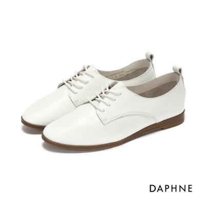 達芙妮DAPHNE 休閒鞋-素面牛皮繫帶平底休閒鞋-白