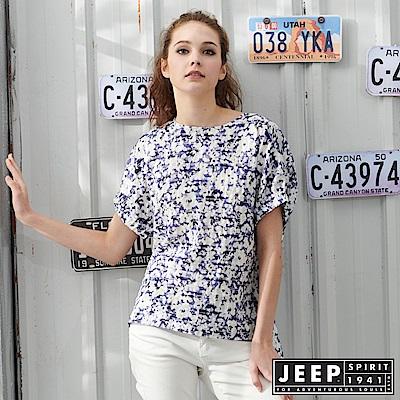 JEEP女裝清新花卉短袖襯衫-藍色