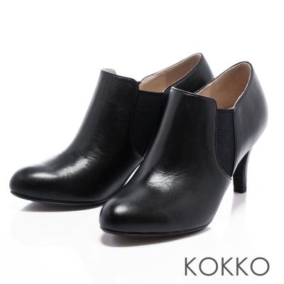 KOKKO台灣手工-經典鬆緊側邊性感雀兒喜踝靴-純黑