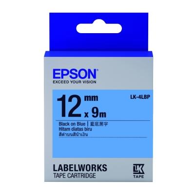 EPSON C53S654406 LK-4LBP粉彩系列藍底黑字標籤帶(寬度12mm)