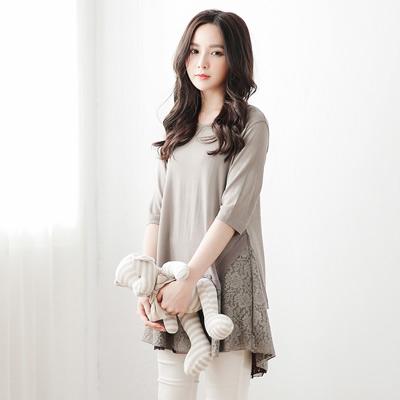 正韓-蕾絲繡花拼接七分袖長版上衣-共二色-IKOD