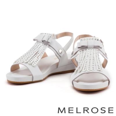 涼鞋 MELROSE 流蘇水鑽蝴蝶結牛皮厚底涼鞋-白