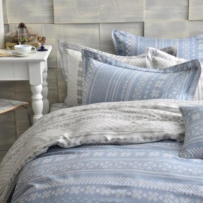 GOLDEN-TIME-烏克蘭印象-藍-精梳棉-雙人四件式薄被套床包組