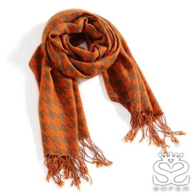 SOFER-千鳥格紋100-羊毛保暖披肩-圍巾-愛瑪橘