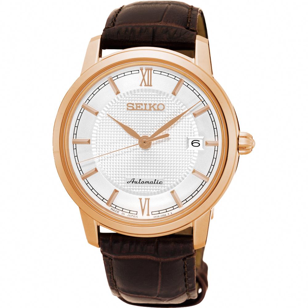 SEIKO Presage 羅馬時尚機械腕錶(SRPA16J1)-銀x玫塊金框/39mm