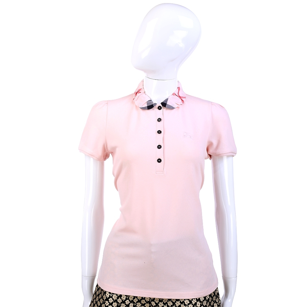 BURBERRY 粉色經典格紋皺褶設計短袖POLO衫