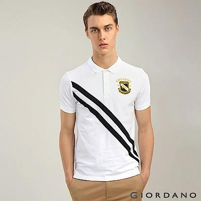 GIORDANO 男裝經典撞色刺繡彈力棉POLO衫-07 標誌白