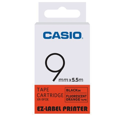 CASIO  標籤機專用特殊色帶-9mm(瑩光色材質)瑩光橘底黑字-XR-9FOE1