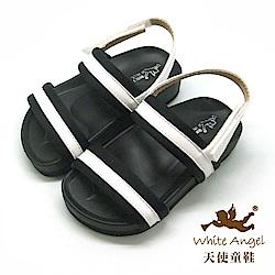 天使童鞋 中性簡約百搭涼鞋(小童-中童)J853-白