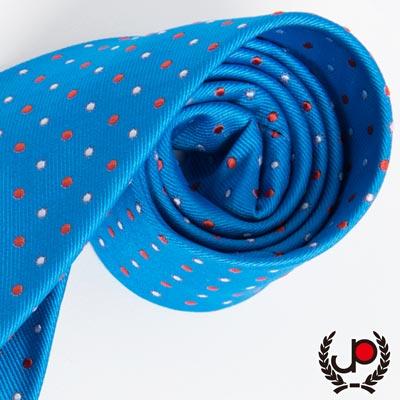 極品西服 義大利Teflon防潑水領帶_藍底圓點