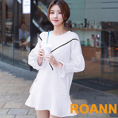圓領荷葉喇叭長袖洋裝 (共二色)-ROANN