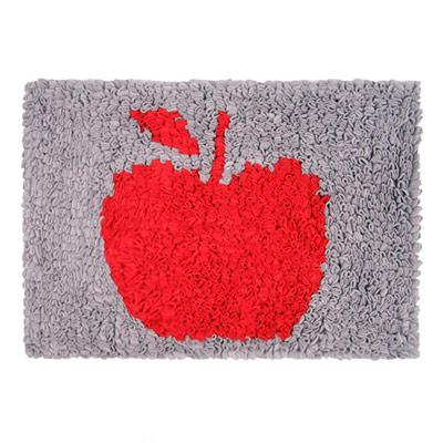 Yvonne Collection法蘭絨蘋果方形地墊-淺灰