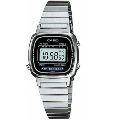 CASIO 經典復古風數位女腕錶(LA-670WD-1)-銀X黑框/30.3mm