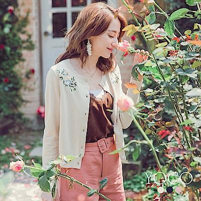 東京著衣-yoco 粉嫩花朵刺繡珍珠釦針織外套-S.M.L(共三色)