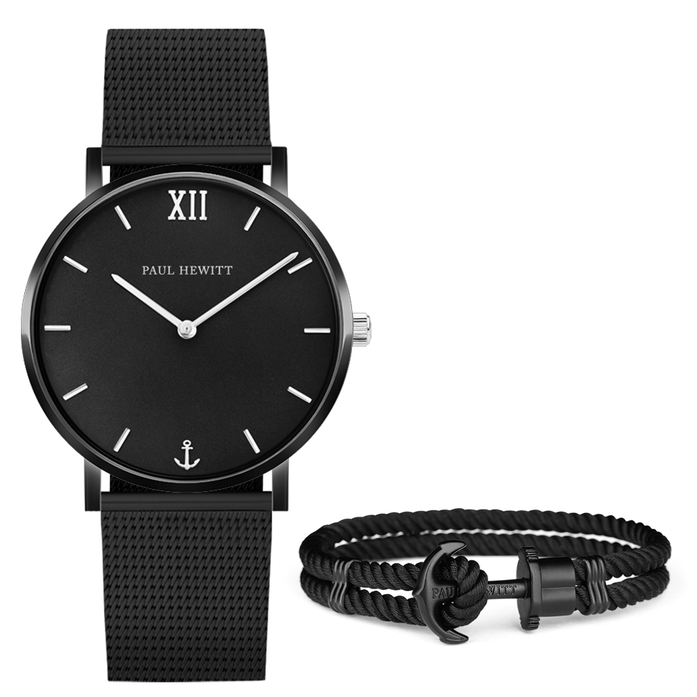 PAUL HEWITT SailorLine船錨米蘭帶手錶手環禮盒組-黑/39mm