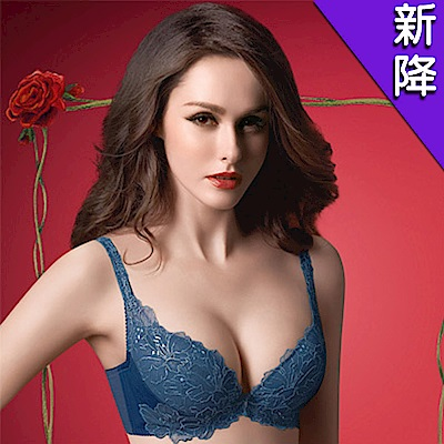 華歌爾-精緻義大利華麗款D罩杯內衣(寶石藍)