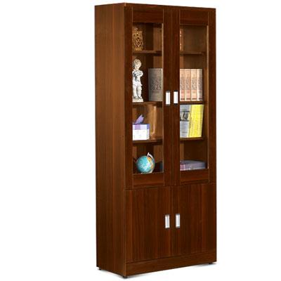 居家生活 理約2.7尺胡桃四門書櫃