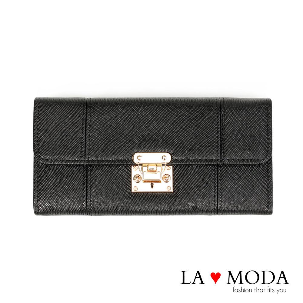 La Moda設計感滿點特殊翻釦防刮十字紋大容量手機包長夾(黑)