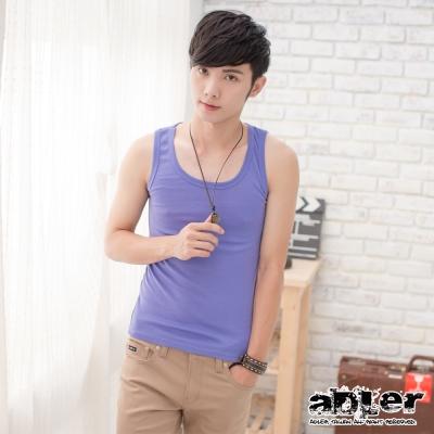 男內衣  純色基本款百搭背心(紫) aDLer