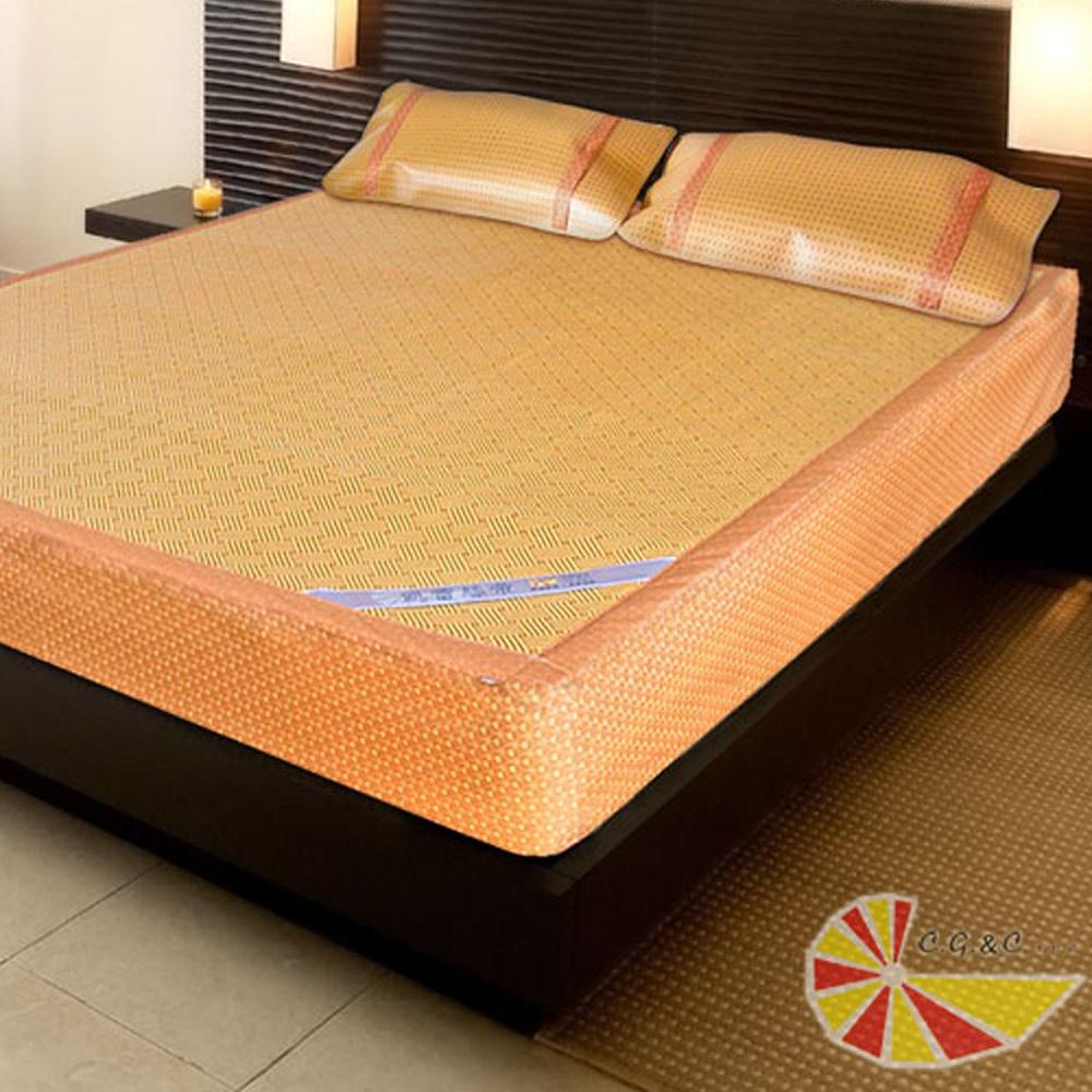 涼蓆 雙人5尺 厚床專用紙纖床包涼蓆雙人三件組 床蓆*1+枕蓆*2 凱蕾絲帝