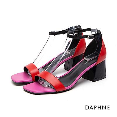 達芙妮DAPHNE 涼鞋-撞色一字繞踝粗高跟涼鞋-紅
