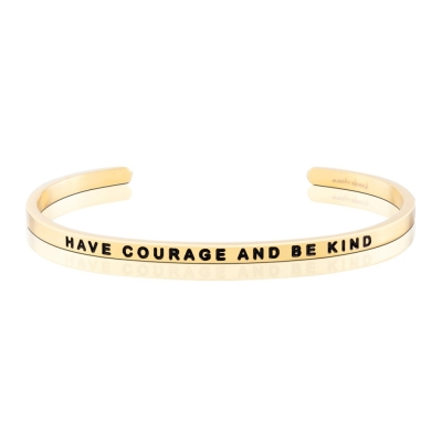 MANTRABAND Have Courage and Be Kind激勵箴言金色手環