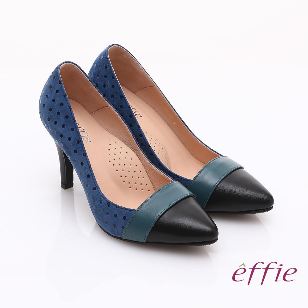 effie 摩登甜美 真皮絨面圓點高跟鞋 藍