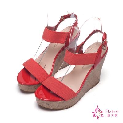 達芙妮DAPHNE-愜意時光彈性飾帶軟木楔型涼鞋-個性橘紅