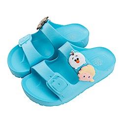 迪士尼童鞋 TsumTsum 冰雪奇緣 輕量防水拖鞋-水藍