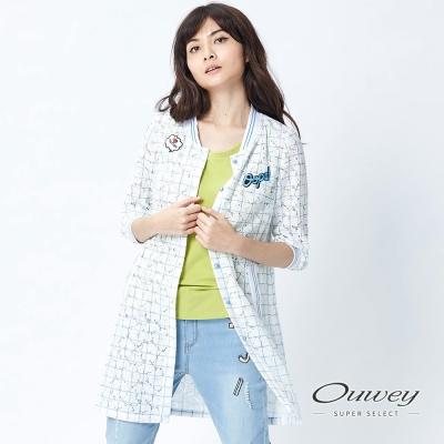 OUWEY歐薇-清爽色調蕾絲印格罩衫-白