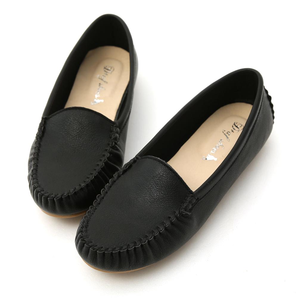 D+AF 舒適首選‧MIT素面莫卡辛豆豆鞋*黑