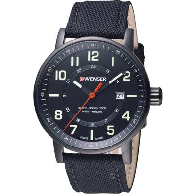 瑞士WENGER Attitude 態度系列 野營生活時尚腕錶-黑色/42mm