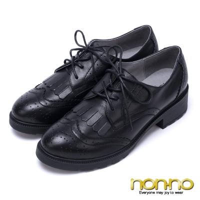 nonno-復古英倫-質感牛紋低跟牛津雕花鞋-黑