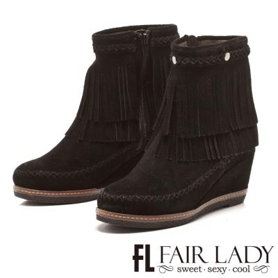 Fair Lady 雙層流蘇嬉皮風楔型短靴 黑