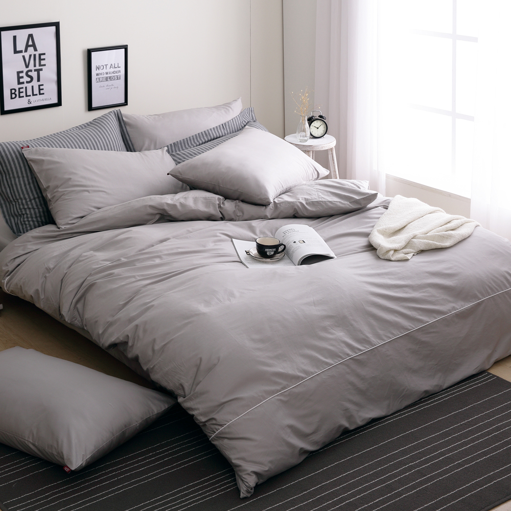 DON 極簡生活-紳士灰 雙人四件式200織精梳純棉被套床包組