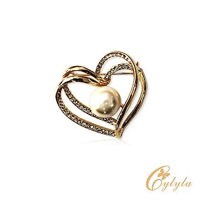 Cylyla思琳娜 施華洛世奇元素雙心奇緣水晶胸針B11126G