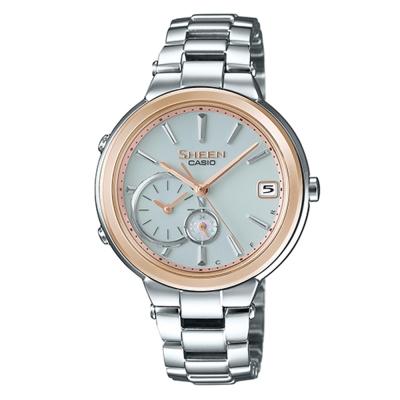 SHEEN 優雅智慧藍芽傳輸太陽能日曆腕錶(SHB-200SG-7A)-金框/35mm