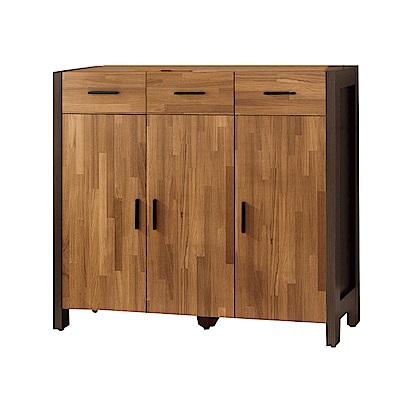 品家居 奧易3.9尺木紋三門三抽鞋櫃-115.6x38.8x106.2cm免組