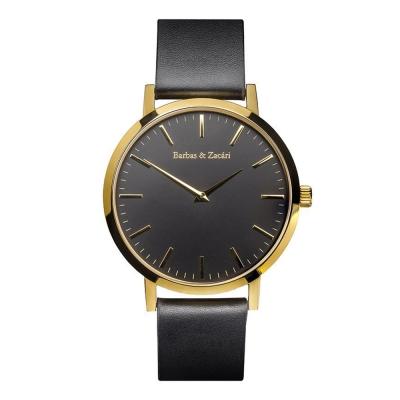 Barbas&Zacari 澳大利亞精品手錶 原始系列 黑皮革錶帶 金色錶框 黑錶盤43mm