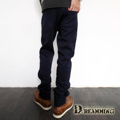 Dreamming 皮革口袋棉質彈性休閒長褲-共三色