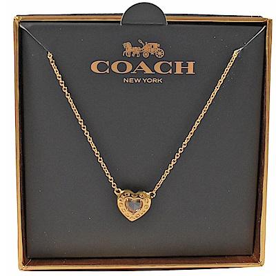 COACH 經典LOGO心型環裝飾項鍊(金)
