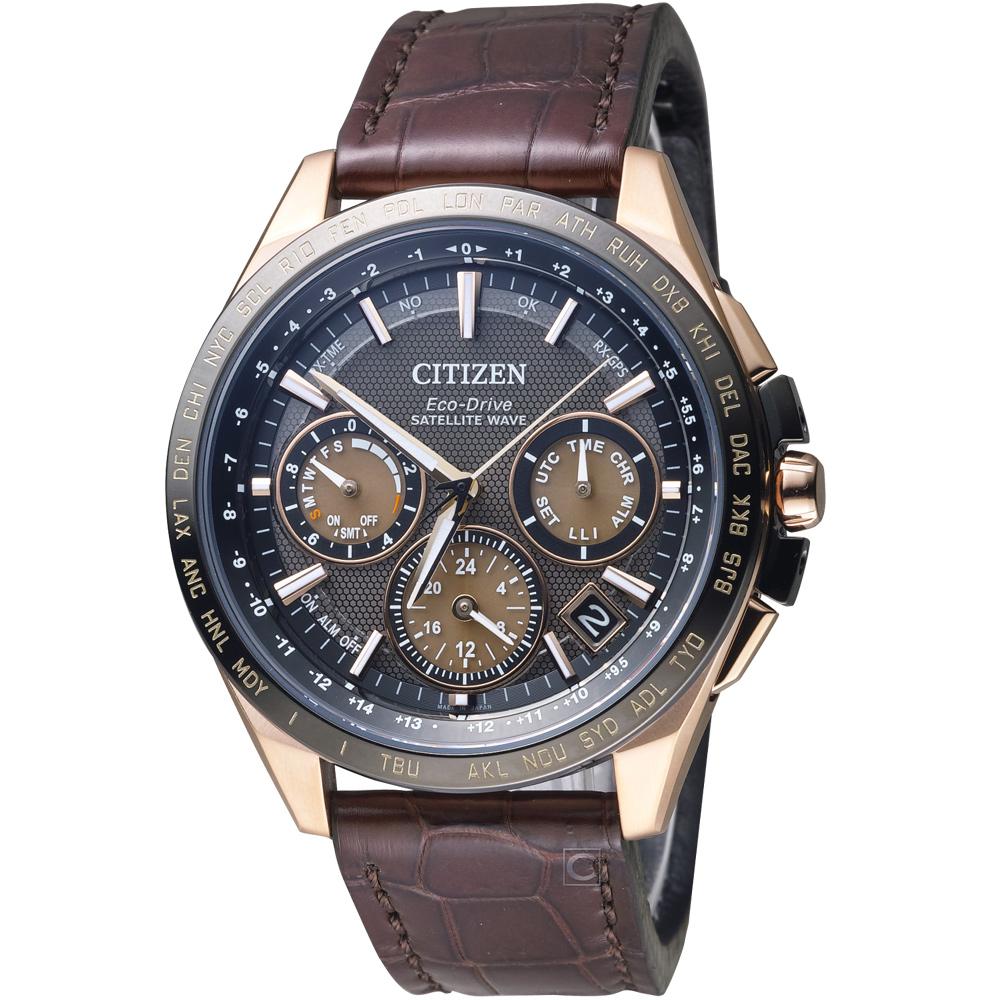 CITIZEN 星辰GPS光動能鈦衛星計時腕錶-咖啡色/44mm