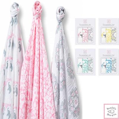 Swaddle Designs 薄棉羅紗多用途嬰兒包巾三入禮盒-復古牡丹動物