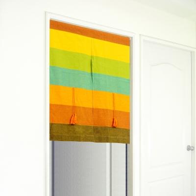 布安於室-色塊純棉中開式短門簾-混色