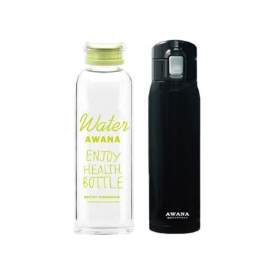 AWANA 經典304不袗彈跳保溫杯500ml(黑)+塗鴉玻璃瓶600ML(綠)
