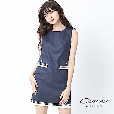 OUWEY歐薇 雙口袋造型圓領背心洋裝(藍)-動態show