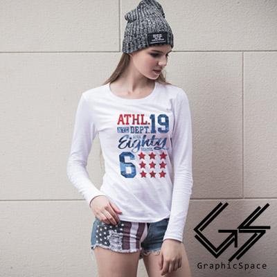 美式字母星星磨毛水洗長袖T恤 (共三色)-GraphicSpace